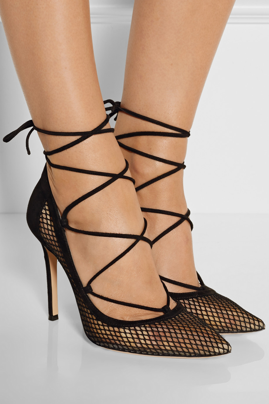 Newest Black Grid High Heels Woman Sexy Lace-up stiletto heels pointed toe thin heels pumps cut-outs dress heels