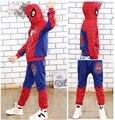 2017 Spiderman Bebé Boys Que Arropa Traje De Deporte de Algodón Ropa de los muchachos de Primavera Hombre Araña Disfraces Cosplay Ropa Fijada BT