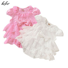 купить 0-18M Newborn Baby Girl Lace Romper Layered Ruffles Bowknot Tutu Princess Romper Jumpsuit Playsuit Clothes в интернет-магазине