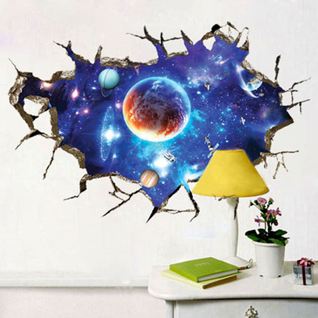 3d outer space planet wall sticker for kids room beautiful galaxy sticker muraux decor living. Black Bedroom Furniture Sets. Home Design Ideas