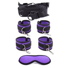 Adult Game Bdsm Bondage Under Bed Restraint Nylon Rope Plush Handcuffs Ankle Cuffs Metal Hook Sex Toys for Couples Women цена