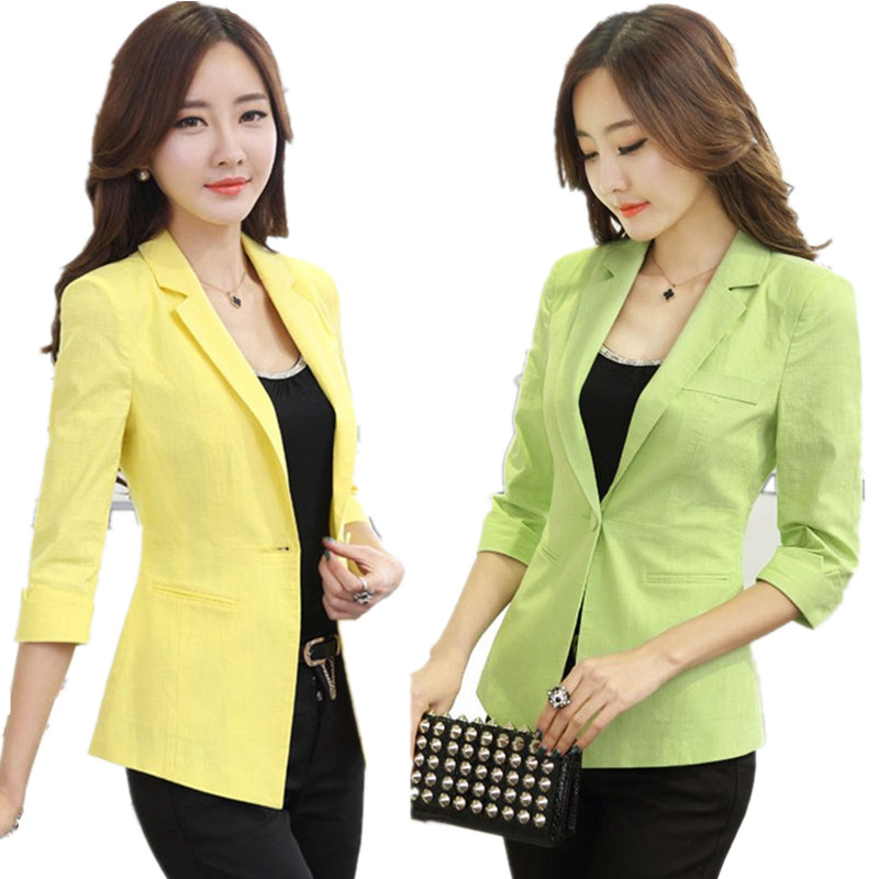 9c8fc7973f7 Cotton Linen Plus Size 4XL Small Jackets Suit Women Spring White Blazers  Tops Casual 3