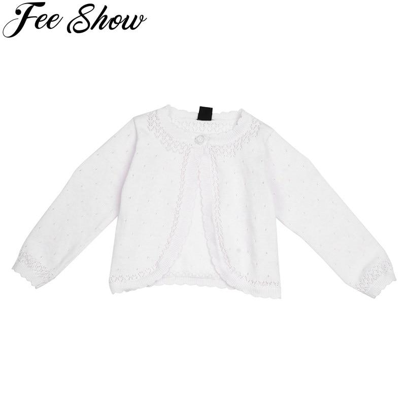 iiniim Kids Baby Girls Long Sleeve Lace Flower Knit Bolero Shrug Cardigan Sweater