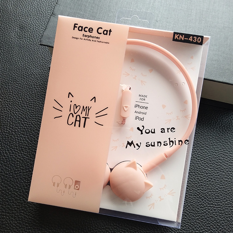 Pink Cute Cat Headphones Girls Birthday Gift  Stereo Headset Colored Earphones with Microphone Mic for Iphone mp3 Kids Student