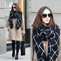 1 PC 2015 195 CM * 80 CM New Lady Mulheres Cozy Cobertor Xadrez preto branco Verificado Tartan Cachecol Wraps xale