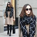 1PC 2015 195CM * 80CM New Lady Women Blanket black white Plaid Cozy Checked Tartan Scarf Wraps shawl