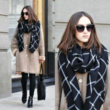 1PC 2015 195CM 80CM New Lady Women Blanket black white Plaid Cozy Checked Tartan Scarf Wraps