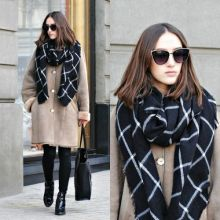 1PC 2015 195CM 80CM New Lady Women Blanket black white Plaid Cozy Checked font b Tartan