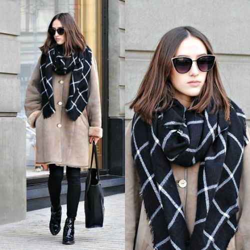 1PC 2019 195CM * 75CM New Lady Women Blanket black white Plaid Cozy Checked Tartan   Scarf     Wraps   shawl