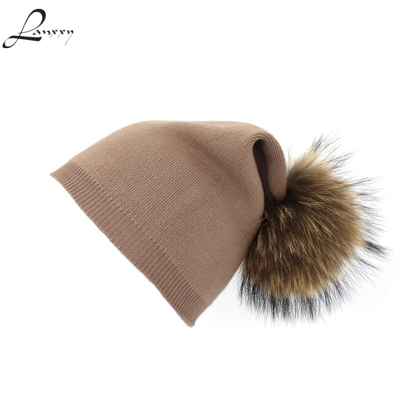 Lanxxy Real Fur Pompom Hat Wool Knitted Cap Winter Hats for Women 2017 Pom Pom Beanies Caps Gorro Double Layers Warm Hat men women winter hat sos 5 seconds of sunmmer knitted double eaves cap sos knitting hat gorro masculino hats for wom