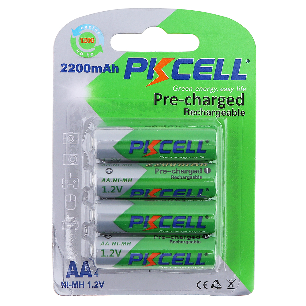 Pkcell 4pcs 1.2V AA 2200mAh Ni-Mh Rechargeable Batteries with Relief Valve 2A Pre-charged Bateria for Camera Remote Control