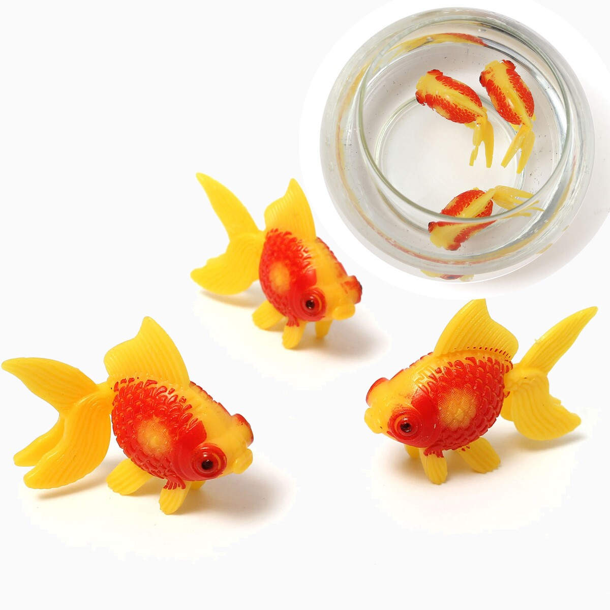 3pcs plastic swimming home decoration fish gold fishes for Fish bowl toy