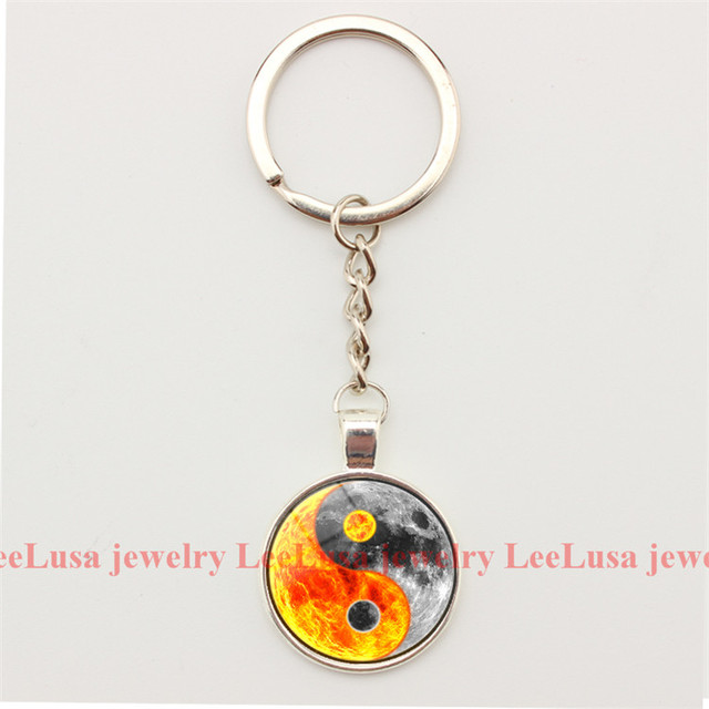 Lucky Jewelry Yin Yang Water and Fire Charm Keychain Glass Dome Pendant Key  Chains Alloy Key Ring Key Holder for Women and Men 406fb4838296