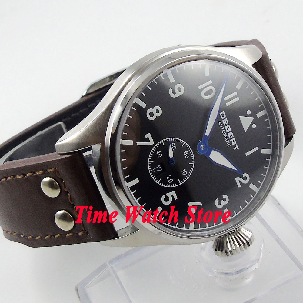 DEBERT 42mm black dial date white marks luminous sapphire glass 5ATM Automatic men's watch relogio masculino цена и фото