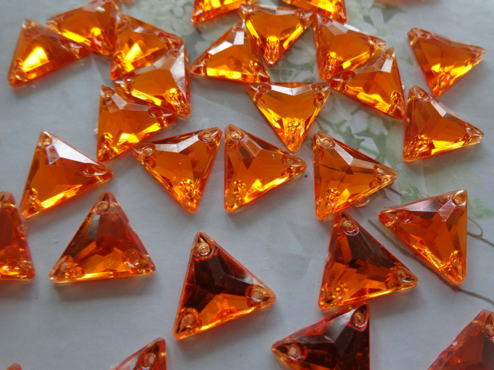 150pcs 12mm Triangle shape rhinestones Orange colour Sew on crystal gem stones Acryl crystal strass diamond hand sewing