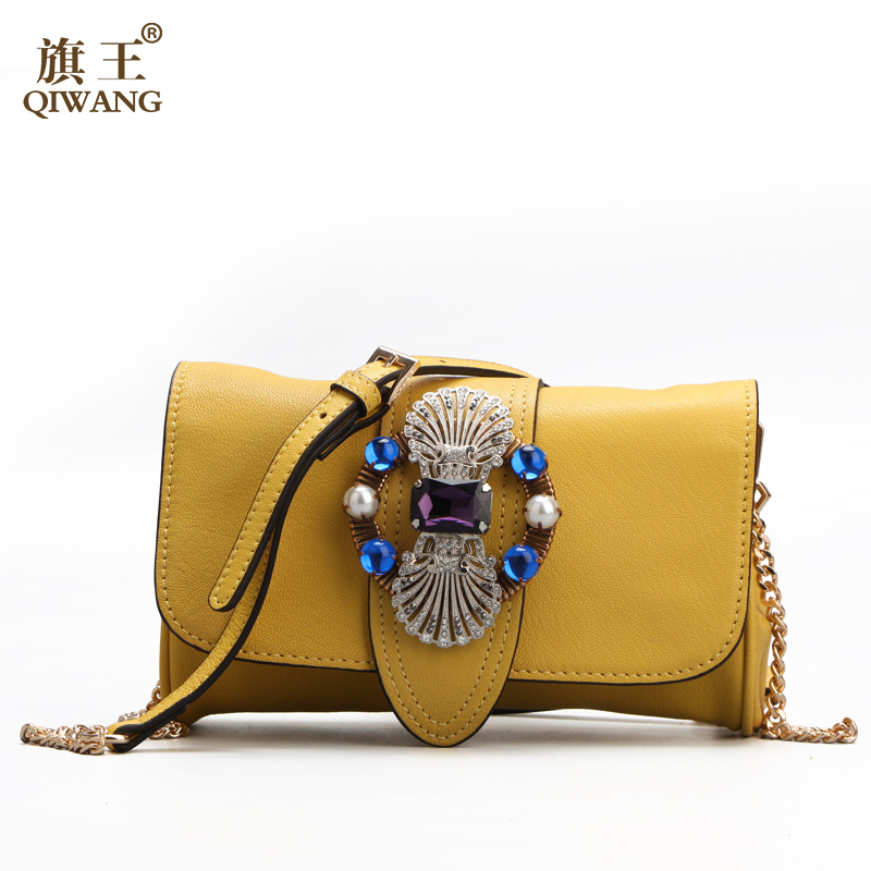 Yellow Genuine Leather Bag Luxury Famous Brands Women Handbags Designer 2017 Bags Summer Butterfly Flap Clutch