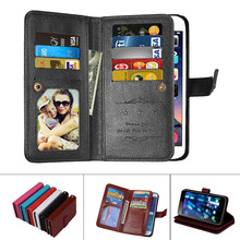 PU Leather Magnetic Durable 9 Cards Slots Flip Wallet Case For Sony Xperia Z3 Z4 Z5 Z6 Plus C3 C4 C5 E5 E6 M4 M5 L1
