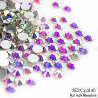 SS20 AAA 4.8-5.0mm 1440 pcs Cristal AB Prata Base de Natator Vidro Pedra 3D Non Hot Fix Prego art pedrinhas
