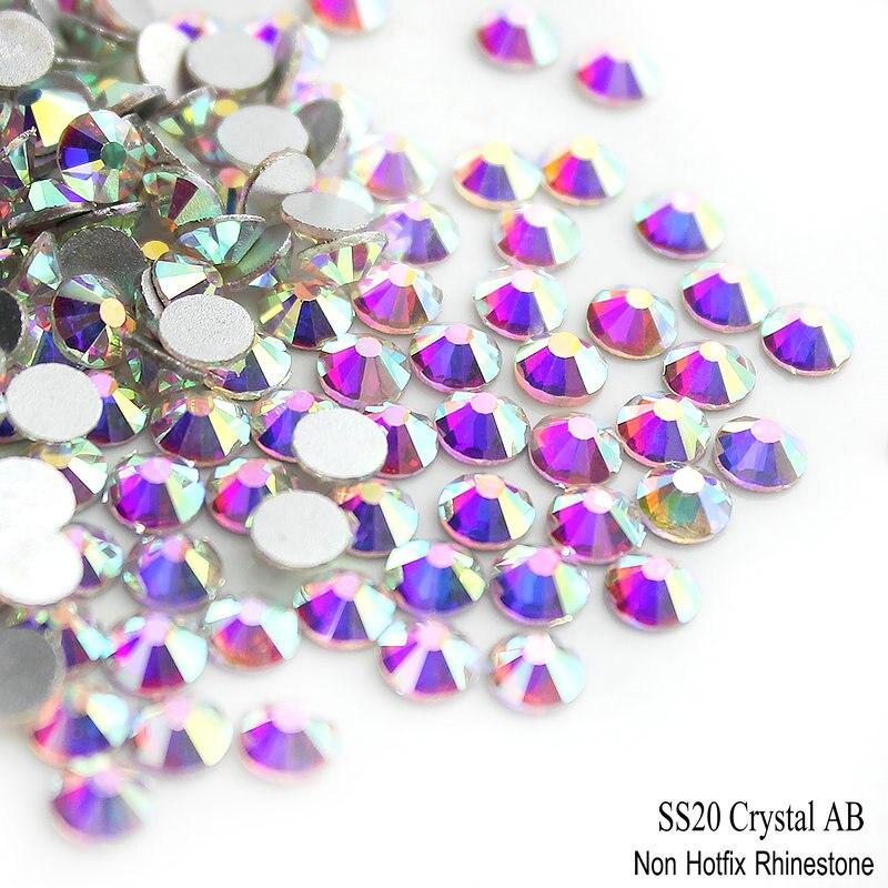 AAA SS20 4,8-5,0 мм 1440 шт Кристалл AB, цепочки с кристаллами с серебрянной акантовкой, головистой формы Стекло камень 3D не термоклеевые Нейл-арт, стр...