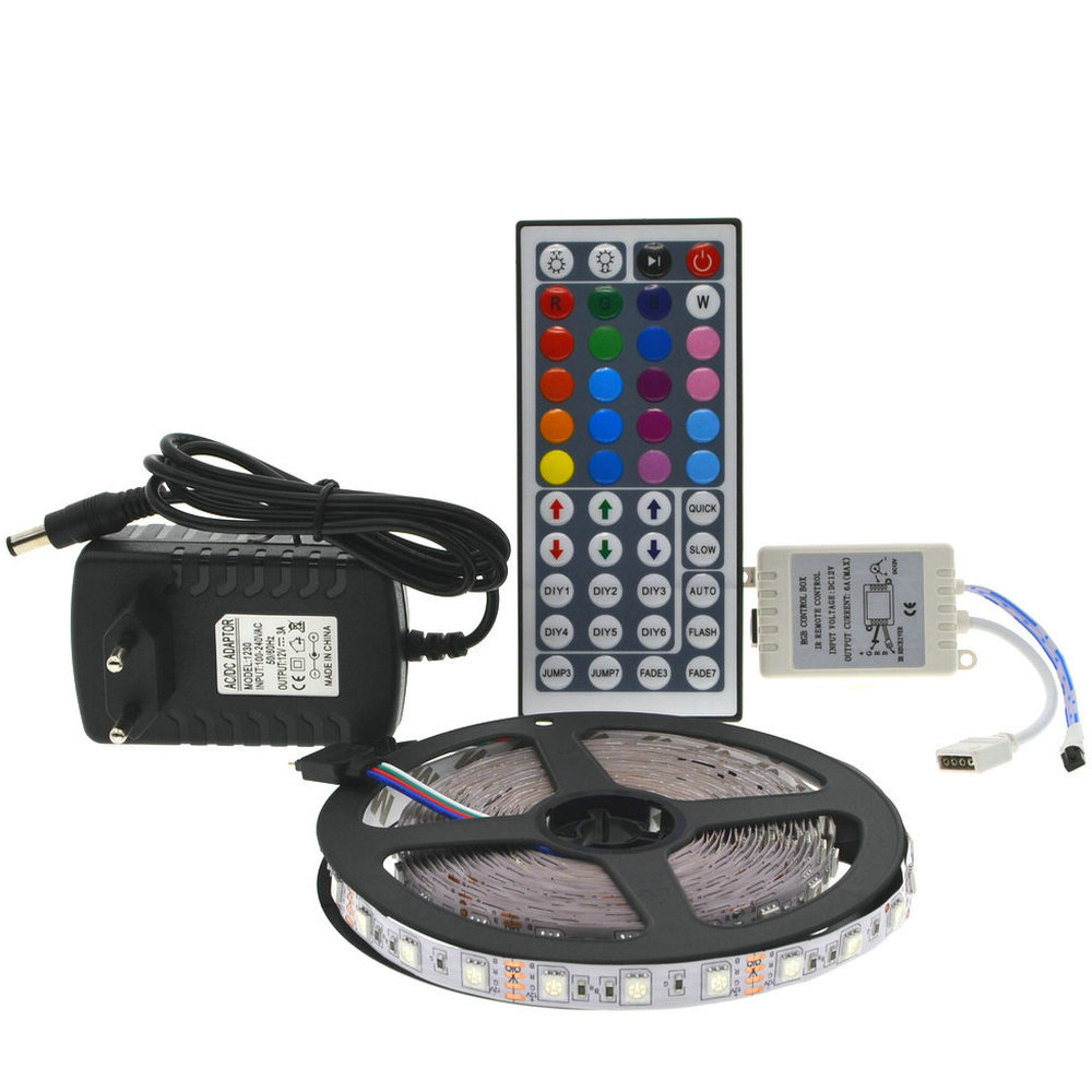 Tiras de Led + 44 teclas de controle Modelo do Chip Led : Smd5050