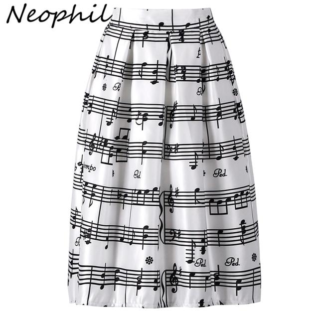 Neophil 2016 Invierno Piano Music Note Melodía de Impresión de Alta Cintura plisado vestido de Bola del Satén Acampanada Mujeres Midi Faldas Tutú Saia S08024
