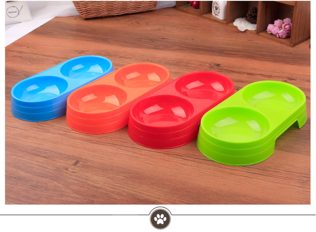 Plastic Double Bowl For Cats
