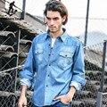 Pioneer camp light blue denim hombres de la camisa 100% de algodón gruesa Camisa de Mezclilla masculino de Los Hombres Camisa de Manga Larga Ropa de Marca fresca 325211