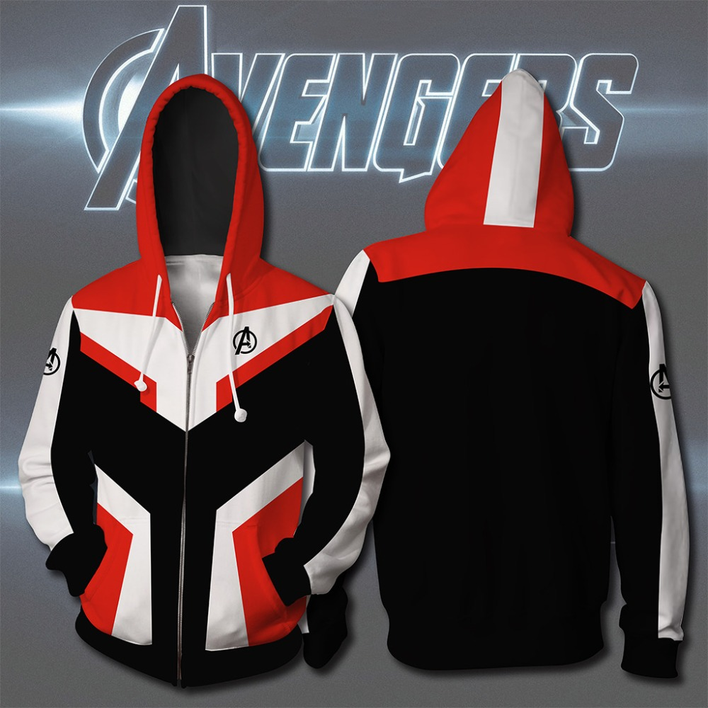 Halloween New high quality  3D Print Avengers Endgame 4 Cosplay Costume man Sweatshirts Zip Up Hoodie hooded Jacket clothing