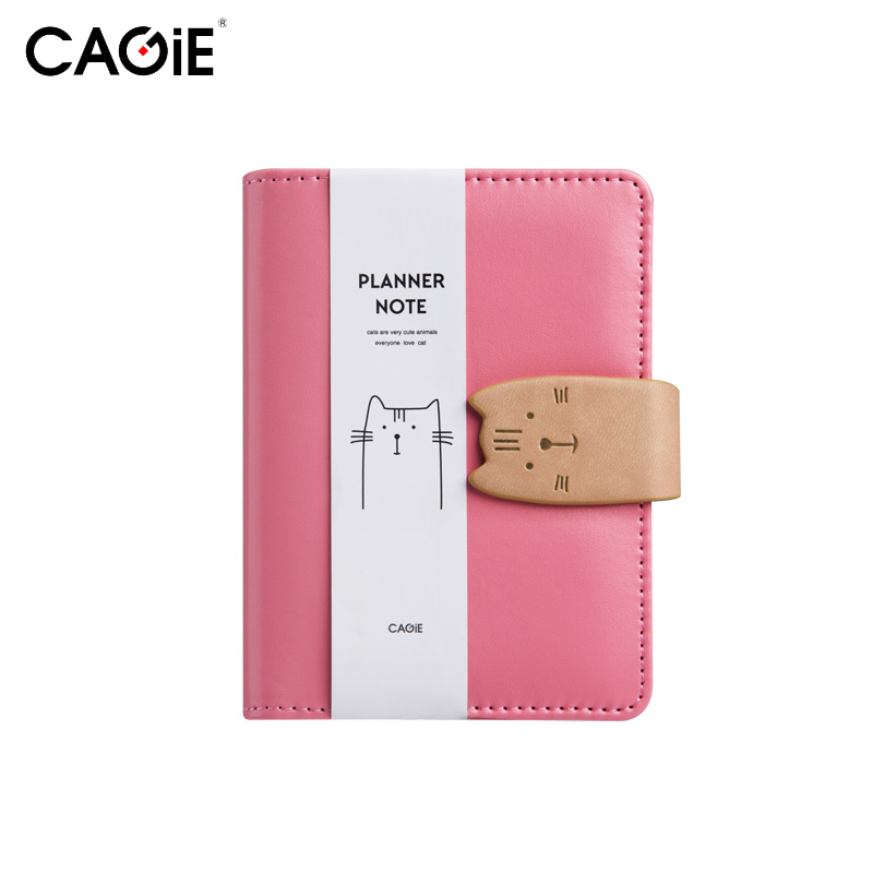 CAGIE A7 Notebook Kawaii Cat Mini Leather Planner Notepad Pockets Notebooks and Journals Paper Spiral Pink