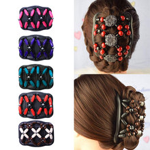 Double Beaded Hair Magic Elastic Hair Comb Clip Beads Hairpin Stretchy Women Hair Accessories Hair Beard Comb variety wooden beads hairpins hair accessories crown hair clips hair comb magic acrylic vintage slide hair comb 2 colors