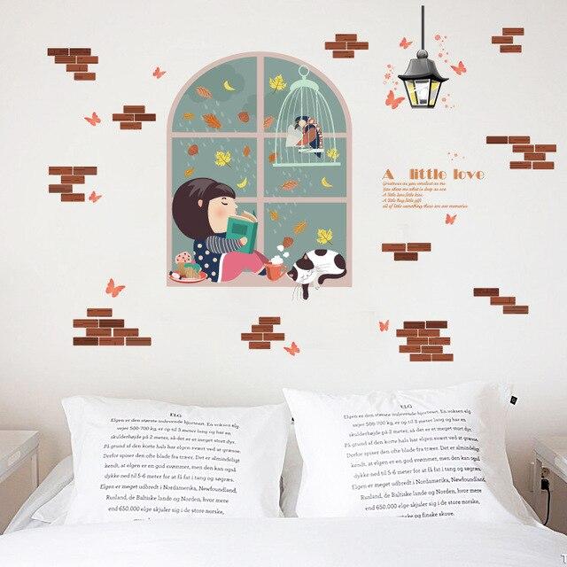 3d cartoon family kids room emulation windows wall stickers bedroom