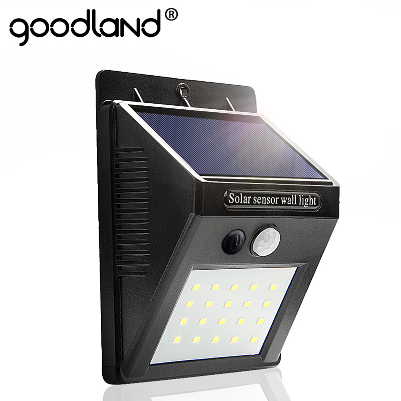 Goodland LED Solar Light Outdoor Solar Lamp with PIR Motion Sensor Solar Powered Waterproof Wall Light for Garden DecorationGoodland LED Solar Light Outdoor Solar Lamp with PIR Motion Sensor Solar Powered Waterproof Wall Light for Garden Decoration