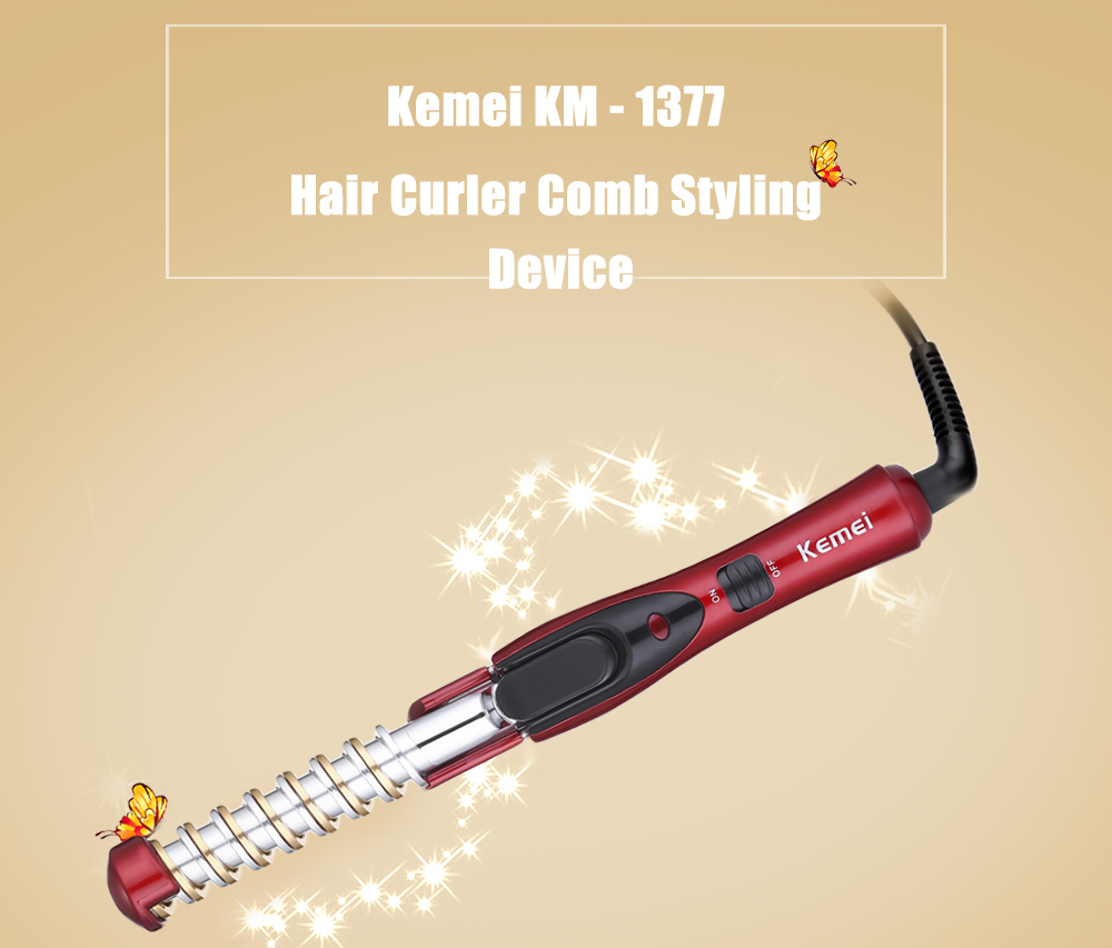 Kemei KM - 1377 Hair Care Styling Portable Hair Curler Comb Styling Device Unique Press-action Tourmaline Ceramic Curler