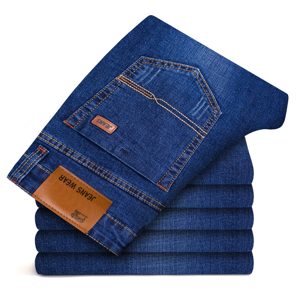 Seasons Style Men Casual Jeans Slim Straight Elasticity Denim Pants New Fashion Male Business Classic Waist Long Trousers