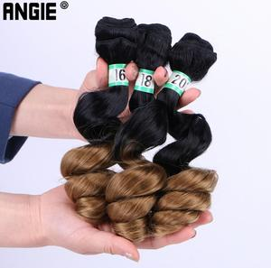 Image 3 - ANGIE Loose Wave Curly Hair Bundles Synthetic Hair Weave 3 Pieces/Lot 16 18 20 Inches Two Tone Ombre Black /27#  For Women