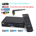 V8 Golden HD Satellite Receiver+1 year Europe cccam Cline USB Wifi DVB-T2+S2/C receptor Satellite support Powervu Patch Youtube