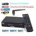 V8 de Oro HD Por Satélite Receptor + 1 año Europa Cline cccam Wifi USB DVB-T2 + S2/C receptor de Satélite apoyo Powervu Parche Youtube