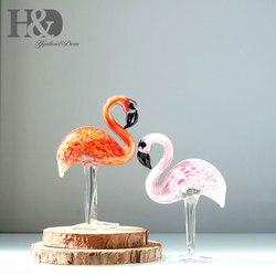 H & D Escultura Ornamento De Vidro-Vidro Da Arte Mão De Vidro Soprado Animais Estatueta Decoração Home 2 pcs Flamingos (vermelho e rosa)