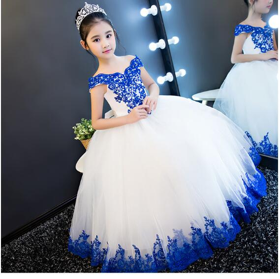 Girl's Wedding Formal Dresses 2018 Summer Lace Gauze Gowns Flowers Girls Princess Dress Kids Model Evening Party Prom Dress Blue lace high low swing evening party dress
