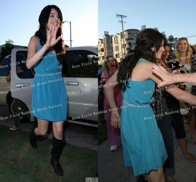 Selena Gomez Turquoise Day Dress Celebrity Inspired Dresses Deep V ...