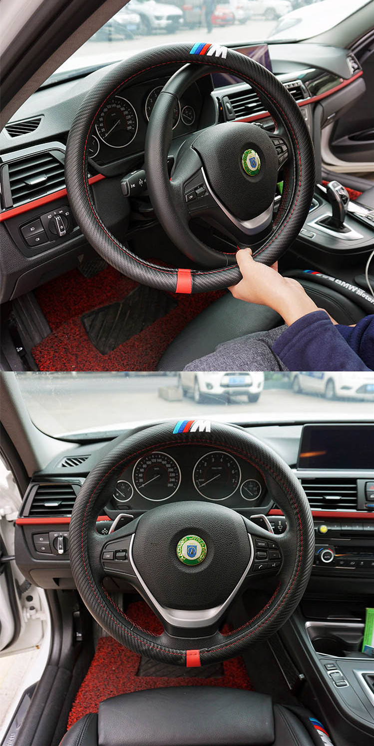 buy 1 m power m carbon fiber sport car steering wheel cover size m 38cm for. Black Bedroom Furniture Sets. Home Design Ideas