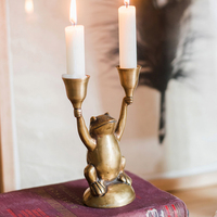 Brass Handmade Frog Candlestick Studio Decoration Exquisite Gift Candlestick