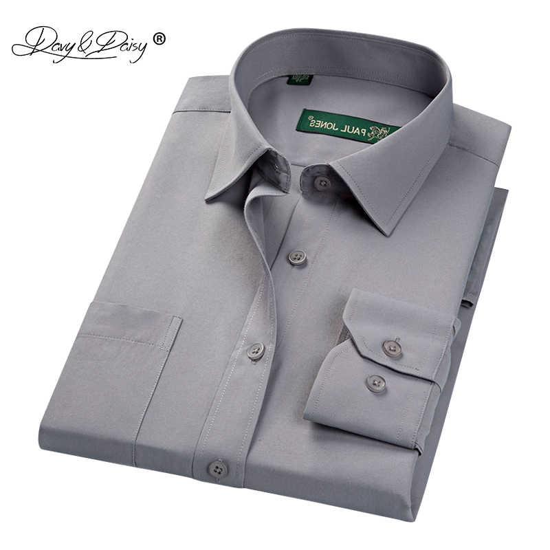 DAVYDAISY Новое поступление осень Для мужчин рубашка однотонное с длинным рукавом саржа рубашки-бабочка, деловой костюм для мальчиков, рубашки с короткими рукавами 17 Цвета DS160