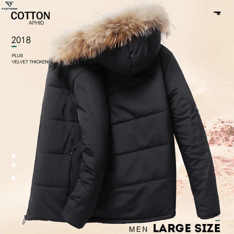 FASTORM 男性冬ハイキングコート厚い熱ジャケット屋外コットンジャケット耐摩耗性コートキャンプ暖かいフリースジャケット