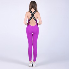 2017 Women's One Piece Training Jumpsuit Puprle pink cross back side print Women Backless Brazilian Style Sport Catsuit hooded