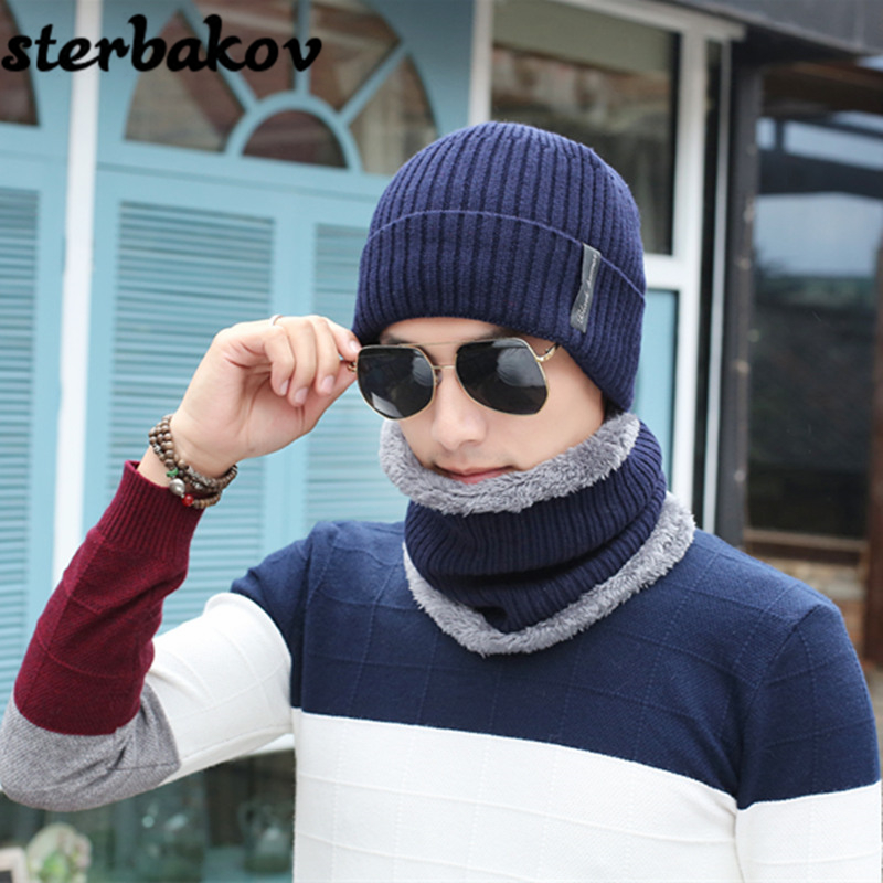 Winter Hat Hats Men's Scarf Knit Cap Hat