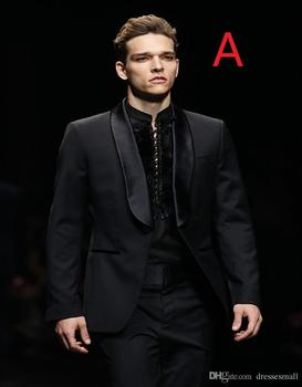 Actual Pictures Fashion Stage Black Shawl Lapel Three Pockets Handsome Party Suits Gentleman Style (jacket+pants)