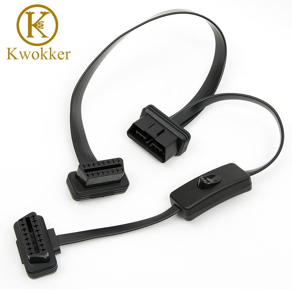 Kwokker OBD2 divisor con interruptor 2 en 1 extensión codo ultrafino fideos cable Conector de diagnóstico coche
