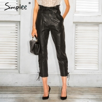 Simplee Lace Up Leather Pants Women Capris Autumn Winter 2017 Sexy High Waist Trousers Black Pencil