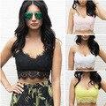 Summer Mujeres Sexy de Encaje Floral Bralette Bra Cremallera Volver Bralet Bustier Crop Top Tank 4 Colores